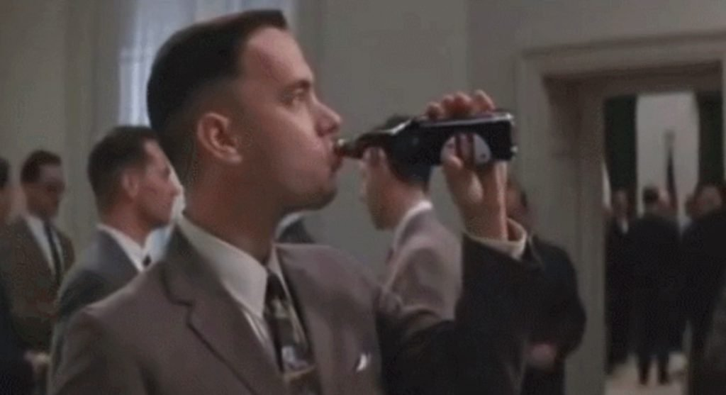Forrest is chugging a Dr Pepper! From the movie Forrest Gump